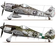 Focke-Wulf Fw 190 A-8; W.Nr. 737435, 'White 20' of 9./JG 5, Herdla, Norway, 8th March 1945, Focke-Wulf Fw 190 A-9/R11; W.Nr. 206000, 'White 2' of III./KG(J) 27, Wels, Austria, spring 1945.