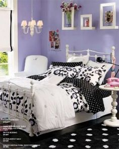 LOVE this Pottery Barn black & purple room