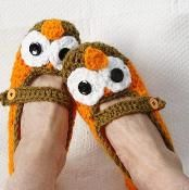 Crochet Womens Owl Slippers - via @Craftsy