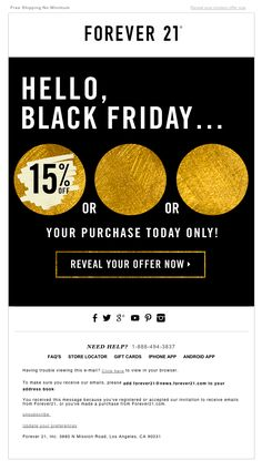 "Forever 21 Black Friday email design with animated .gif - Nov. 28, 2014 - ""Mystery Sale – How Much Will You Save?‏"""