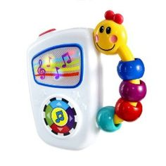 Click on pic to check this cute toy out!  Product Features  Large easy press button toggles through 7 high quality classical melodies   Colorful lights dance across the screen to each song  Colorful Baby Einstein caterpillar handle is easy for little hands to hold and take anywhere  Off/Low/High volume switch  Promotes auditory development and music appreciation