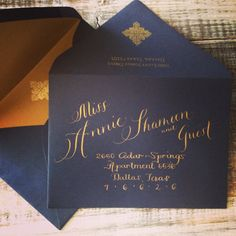 Wedding Calligraphy Addressing in Modern Mix Text Font. Gold Ink on Navy Envelope. Envelope Addressing by Professional Calligrapher