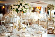 Beautiful White Wedding Reception at the Grove Park Inn, Asheville NC. Flowers by Flower Gallery of Asheville  #wedding #flowers #centerpiece
