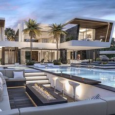 Luxury, dream and most expensive villa. The most beautiful houses with swimming pool - Home & DIY Luxury Modern Homes, Luxury Homes Dream Houses, Dream House Interior, Dream Home Design, Modern Mansion Interior, Luxury Homes Exterior, Luxury House Plans, Modern Villa Design, Contemporary Design