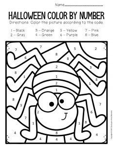 Spider Color by Number Halloween Preschool Worksheets Printable Halloween, Diy Halloween, Halloween Worksheets, Preschool Worksheets, Kids Learning Activities, Preschool Printables, Toddler Activities, Number Worksheets, Halloween Tricks