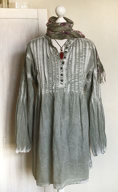 Vintage tunic dress hand dyed cotton by GreenHouseGallery on Etsy, $55.00