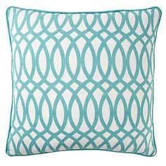 Aquamarine Geo pillow featuring an upbeat chain-link pattern, $59.95