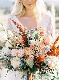 Large Neutral Bohemian Custom bridal bride crown bouquet floral crown BoHo bohemian Protea Rose Fern Ranunculus Seeded Succulent Baby Shower