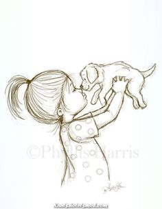 Sketch Illustration of a Puppy and Little Boy or Little Girl - You choose with boy or girl - Sketch Illustration of a Puppy and Little by PhyllisHarrisDesigns Girl Drawing Sketches, Art Drawings Sketches Simple, Sketch Painting, Pencil Art Drawings, Animal Drawings, Drawing Faces, Drawing Ideas, Sketch Ideas, Cute Drawings Of Girls