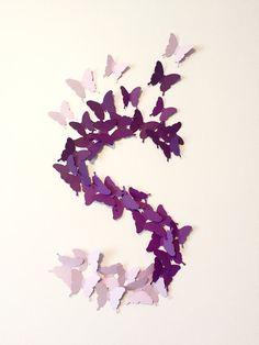 Paper butterflies. 3D butterfly wall art. Paper wall art. Baby shower. Scrapbooking. Wedding. Confetti. Christening