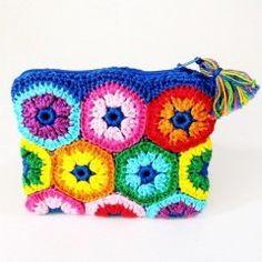 Colourful crochet money purse (blue)