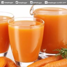 Jus Tomat Campur Wortel  Bahan-bahan : 50 gram tomat merah 50 gram wortel 1 sdm sirup gula  Cara membuat jus : 1. Cuci bersih kupas lalu potong-potong sayur wortel. Masukkan ke dalam juice extractor. 2. Tambahkan potongan tomat proses hingga sari buahnya keluar. 3. Tampung dalam gelas tambahkan sirup gula. 4. Aduk rata lalu sajikan jus segera.  Catatan : Segera minum olahan jus buatan anda agar nutrisi vitamin dan mineral penting di dalamnya tidak rusak oleh udara maupun cahaya…
