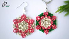 Fantastic Free of Charge DIY Christmas Gift Idea🎄🎄🎄 Beaded Earrings Patterns, Seed Bead Patterns, Seed Bead Earrings, Diy Earrings, Beading Patterns, Hoop Earrings, Beaded Christmas Ornaments, Christmas Jewelry, Diy Christmas Gifts