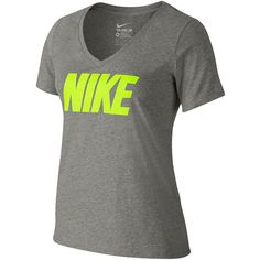Nike NSW Short-Sleeve Graphic T-Shirt Gray ($18) ❤ liked on Polyvore featuring tops, t-shirts, shirts, 10. tops., nike, v neck t shirts, grey shirt, v neck graphic tees, gray shirt and graphic tees