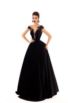 df6797aec86 Tarik Ediz - 93697 Floral Applique Cap Sleeve Velvet Ballgown