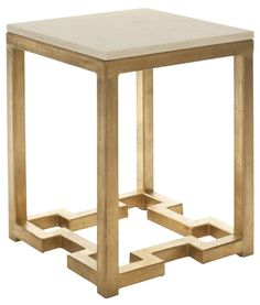 Ray Accent Table Ivory/ Gold Legs