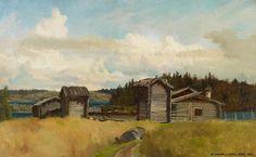 Hjalmar Munsterhjelm (1840-1905) Torppa ulkorakennuksineen / Tenant farm outbuildings - Finland