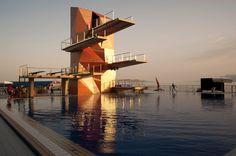 studio zoppini associati: rijeka diving tower in croatia Precast Concrete Panels, Metal Siding, Roof Plan, Front Elevation, Pool Designs, Geology, Croatia, Interior Architecture, Diving