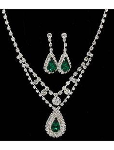 SILVER CRYSTAL & GREEN GEM NECKLACE & EARRING SET - BRIDAL WEDDING JEWELLERY - Green Jewellery Sets - Jewellery Sets By Colour - Wedding Jewellery Sets - Wedding Jewellery - Wedding Accessories