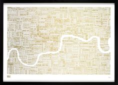 Bold & Noble Gold Foil Blocked London Type Map