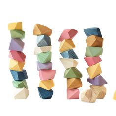 """Kick family fun night up a notch! An exciting and unplugged game for all ages. """"These are so much fun! Great quality and such a unique and creative game. The whole family loves them."""" - Carli L. Snag your set today and start playing! Rock Blocks are a wooden toy, handcrafted and naturally dyed from plants! An eco-friendly toy you can trust. Build and balance towers, arches, shapes, letters, and mountains with captivating wooden blocks. Our blocks will create furrowed brows and smiling faces. Toddler Gifts, Toddler Toys, Diy Sensory Board, Wooden Toys For Toddlers, Family Fun Night, Wood Toys, Wooden Blocks Toys, Eco Friendly Toys, Natural Toys"""