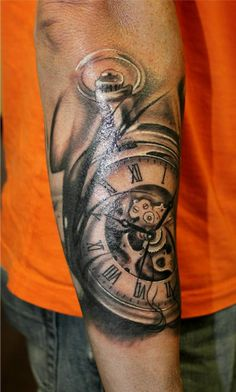 Pocket watch tattoo I added to my sleeve