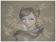 Carry On by Audrey Kawasaki. Oil and graphite on wood.