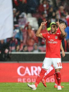 Eduardo Salvio of SL Benfica celebrates after scoring a goal during. April 22, Lisbon Portugal, Scores, Football, Goals, Running, Celebrities, Image, Stadium Of Light