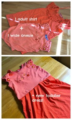 Don't throw away your old t-shirts, skirts, and jeans when you can do so many clever things with old clothes. Have a look. Toddler Dress, Toddler Outfits, Baby Dress, Kids Outfits, Tomboy Outfits, Old Baby Clothes, Recycle Old Clothes, Sewing For Kids, Baby Sewing