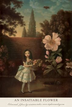An Insatiable Flower Postcard by Stephen Mackey Yazawa Ai, Art Et Illustration, Flower Oil, Arte Pop, Surreal Art, Macabre, Dark Art, Flower Prints, Alice In Wonderland