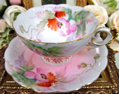 MADE IN  JAPAN TEA CUP AND SAUCER BLUSHING PINK & FLORAL PAINTED PATTERN TEACUP  picclick.com