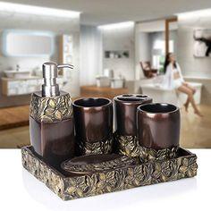 WYMBS Christmas gift simple Europeanstyle Resin bathroom toiletries five piece mug set I