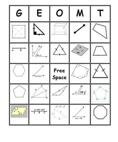 Bingo covering the first semester of grade Geometry Vocabulary - 30 bingo cards with 55 vocabulary words. The bingo cards show pictures with room for students to label each picture,. Geometry Vocabulary, Geometry Lessons, Teaching Geometry, Geometry Activities, Math Lessons, Teaching Math, Maths, Teaching Ideas, Teaching Career