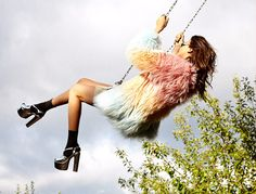 Swing with a colored fur and silver heels - The Boho Garden #bohemian ☮k☮