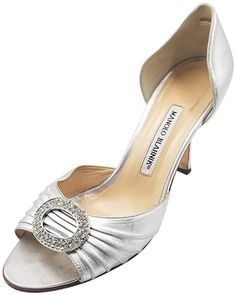 bf2d6f0fcf5e Get the must-have pumps of this season! These Manolo Blahnik Silver Crystal  Buckle