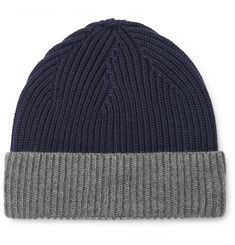 260d308c45563 Altea - Two-Tone Ribbed Virgin Wool Beanie Dapper, Hats For Men, Man