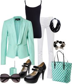 """Aqua and Black Business Casual"" by pamnken on Polyvore"