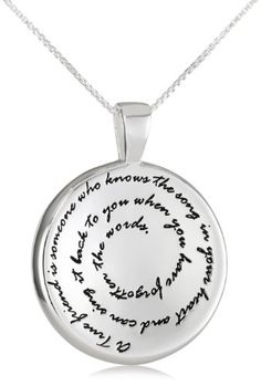 This medallion pendant is a wonderful gift for any friend. The front of the pendant contains a sentimental message that is a gentle reminder of a powerful friendship. Choose from a sterling silver or gold plated pendant displayed at the bottom of an 18-inch box chain.