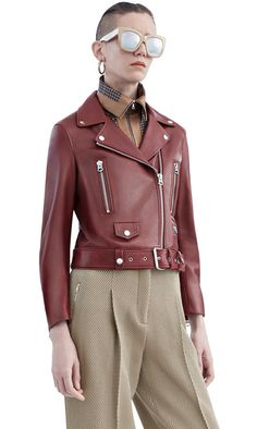 Mock red wine classic motorcycle in 100% lamb leather #AcneStudios #PF15