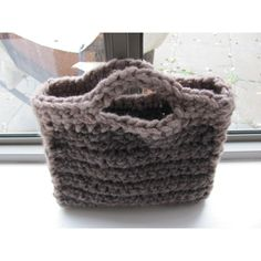 Valentines day gifts--Gray brown knitted bag Wool Holiday gift-- ($33) ❤ liked on Polyvore featuring annalela