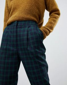 Shop Warehouse peg trousers in blue tartan check at ASOS. Checked Trousers Outfit, Trousers Women Outfit, Plaid Pants Outfit, Tartan Pants, Peg Trousers, Trouser Outfits, Tartan Plaid, Women's Pants, Adidas Pants