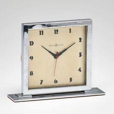 8/29 #Auction  |  GILBERT ROHDE; HERMAN MILLER CLOCK CO.  Table clock, Zeeland, MI, 1930s  |  Chromed steel, enameled metal, glass  |  Opening bid is $250; Price Estimate: $500 - $700  #Herman #Miller #Antique #1930s #American #Rhode @RagoAuctions