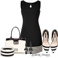 """Black & White Stripes"" by jayhawkmommy ❤ liked on Polyvore"