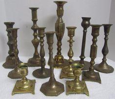 Lot of 12 Vintage Brass Candlesticks Wedding Decor Candle Holders FREE SHIPPING Brass Candle Holders, Candlesticks, Wedding Decorations, Free Shipping, Ebay, Collection, Vintage, Candle Holders, Candle Sticks