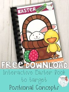 Free Speech Therapy Interactive Book targets positional concepts, vocabulary; Easter themed from Ms. Gardenia's Speech Room on Teachers Pay Teachers.
