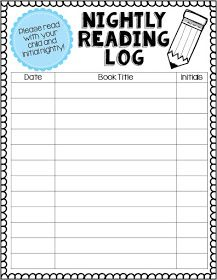Adventures of First Grade: Reading Logs