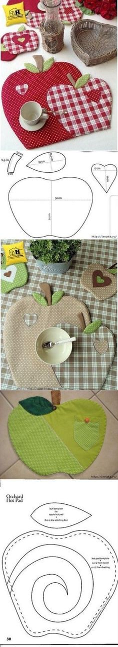 We sew apples for kitchen in style a patchwork Sewing Hacks, Sewing Tutorials, Sewing Crafts, Sewing Projects, Patchwork Quilting, Quilts, Quilt Patterns, Sewing Patterns, Place Mats Quilted