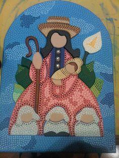 Virgen Divina Pastora en Puntillismo de Carolina VP Xmas Crafts, Diy And Crafts, Arte Country, Paper Bead Jewelry, Madonna And Child, Arte Popular, Aboriginal Art, Dot Painting, Painting Techniques