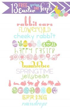 FREE Easter and spring fonts 13 cute spring & Easter fonts. all FREE! :) ~~ {w/ cute spring & Easter fonts. all FREE! Computer Font, Der Computer, Fancy Fonts, Cool Fonts, Fuentes Silhouette, Easter Fonts, Spring Font, Silhouette Fonts, Silhouette Cameo