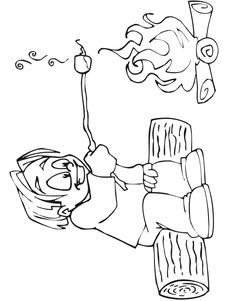 camping coloring page of a camper roasting marshmallows